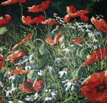 Red Flowers - Elsie Sheridan - original oil paintings and landscapes of Ireland.