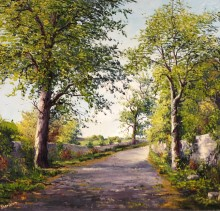 Liffey Walk - Elsie Sheridan - original oil paintings and landscapes of Ireland.