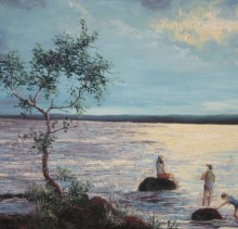 Bath in the Sea - Elsie Sheridan - original oil paintings and landscapes of Ireland.